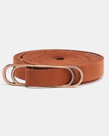 non-european® Wraparound Slider Belt Tan&Brushed Antique Copper
