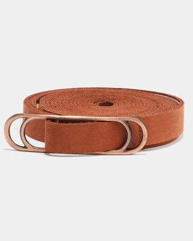 non-european ® Wraparound Slider Belt Tan Brushed Antique Copper