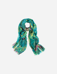 FRAAS Women Floral Rose Print Mulitcolour Scarf Blue