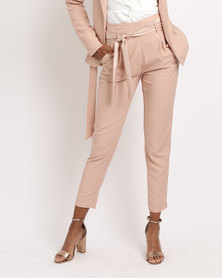 Sassoon Satin Belted Trouser Nude