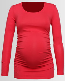 Cherry Melon Round Neck Top With Side Detail Burnt Horizon