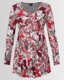 Cherry Melon Smock Detail Top Long Sleeve Floral Print
