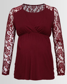 Cherry Melon Lace Crossover Feeding Top Burgundy