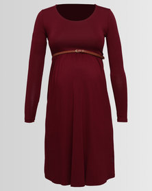 Cherry Melon Belted Scoop Neck Dress Long Sleeve Burgundy