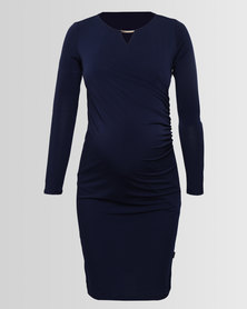 Cherry Melon Cocktail Wrap Dress With Metal Trim French Navy