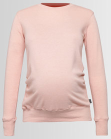 Cherry Melon Sweat Top With Pleats Petal Pink