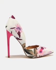 Madison Leah Floral Print High Heels Pink