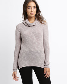 Rustiq Cosy Cowl Top Grey
