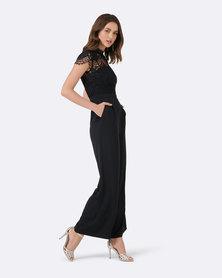 Forever New Leona Lace Wide Leg Jumpsuit Black
