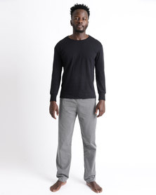 Black Lemon Marcus Long Sleeve PJ Set Black/White