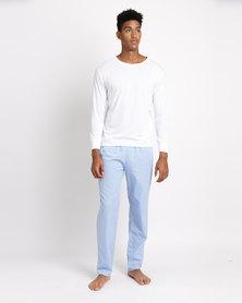 Black Lemon Marcus Long Sleeve PJ Set Blue & White