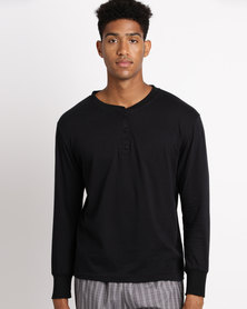 Black Lemon Theo Henley PJ Top Black