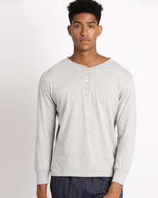 Black Lemon Theo Henley PJ Top Grey Melange