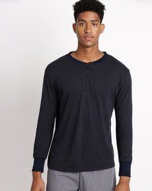 Black Lemon Theo Henley PJ Top Navy