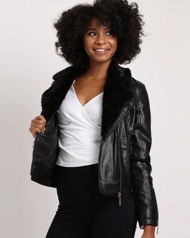 Sissy Boy Biker With Fur Trim Jacket Black