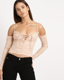 Sissy Boy Bardot  With Tie Detail Top Nude
