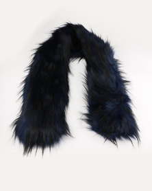 Lily & Rose Faux Fur Scarf Navy