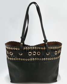 Blackcherry Bag Eyelet Detail Shopper Handbag Black