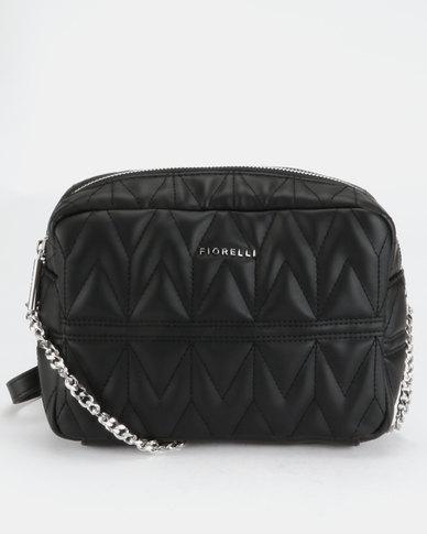 Fiorelli Lola Chain Shoulder Bag Black Quilt