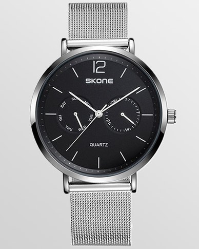 Skone Chiswick Silver Mesh Strap Men's Watch Black
