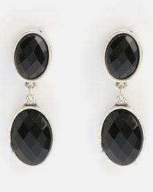 Klines Resin Stud Rhodium Earrings Black