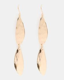 Klines Two Piece Ear Drop Hammered Earrings Gold-Tone