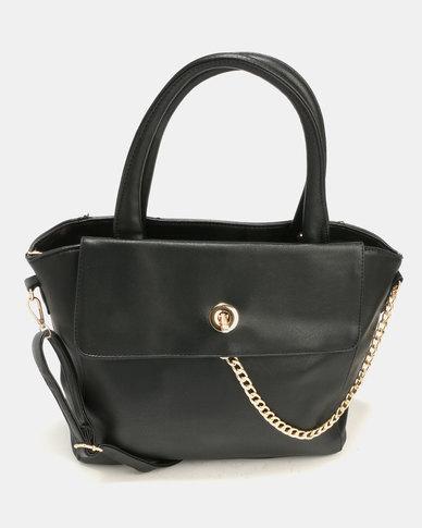 Blackcherry Bag Smart Tote Hand Bag With Chain Detail Black