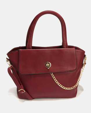 Blackcherry Bag Smart Tote Handbag With Chain Detail Burgundy
