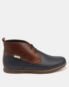 Omega Lace Up Ankle Boot Carvano Navy Tempest/Brown