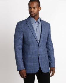 Check 2 Button Jacket Blue