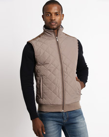 JCrew Sleeveless Quilted Jacket Taupe