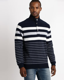 Striped Funnel Neck Top Navy