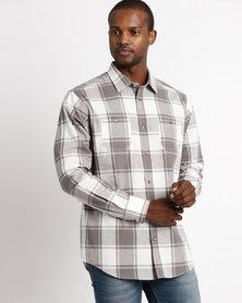 JCrew Check Long Sleeve Shirt Grey & White