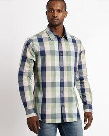 Over Check Long Sleeve Shirt Green/Blue