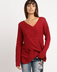 cath.nic By Queenspark Wrap Over Knitwear Red