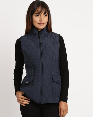 Queenspark Woven Quilted Zip Through Sleeveless Gilet Navy