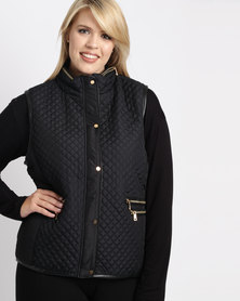 Queenspark Plus Sleeveless Puffer Woven Gilet Jacket Black