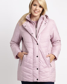 Queenspark Plus Longer Length Puffer Woven Coat Pink