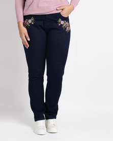 Queenspark Plus New Embroidered Denim Jeans Indigo Blue