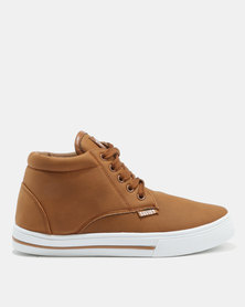 Soviet Clyde PU Hi Youth Sneakers Tan