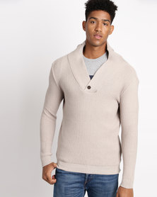 Utopia Shawl Collar Jumper Oatmeal