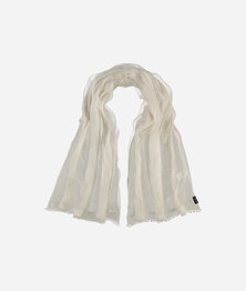 FRAAS Women Evening Shimmer Mesh Viscose Silk Basic Monochrome Scarf Off White