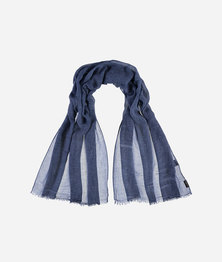 FRAAS Women Wafer Cloth Look Basic Monochrome Scarf Navy