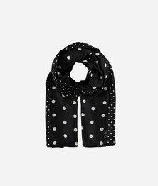 FRAAS Women Polkadot Basic Print Scarf Silk Twill Multicolour Black/white