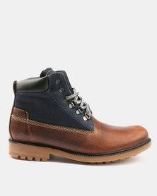 Bronx Sasso Combo Boots Oatmeal/Navy