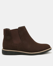 Jeep Tania Flat Ankle Boots Chocolate