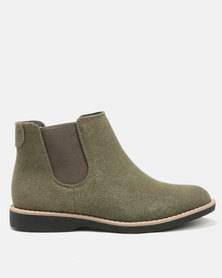 Jeep Tania Flat Ankle Boots Olive