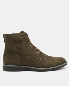 Jeep Willow 2 Flat Ankle Boots Olive