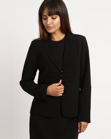 Queenspark Piping Detail Woven Jacket Black