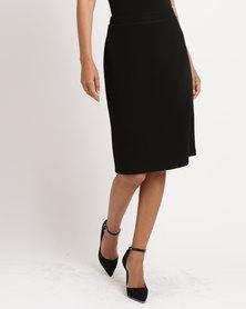 Queenspark Piping Detail Woven Skirt Black